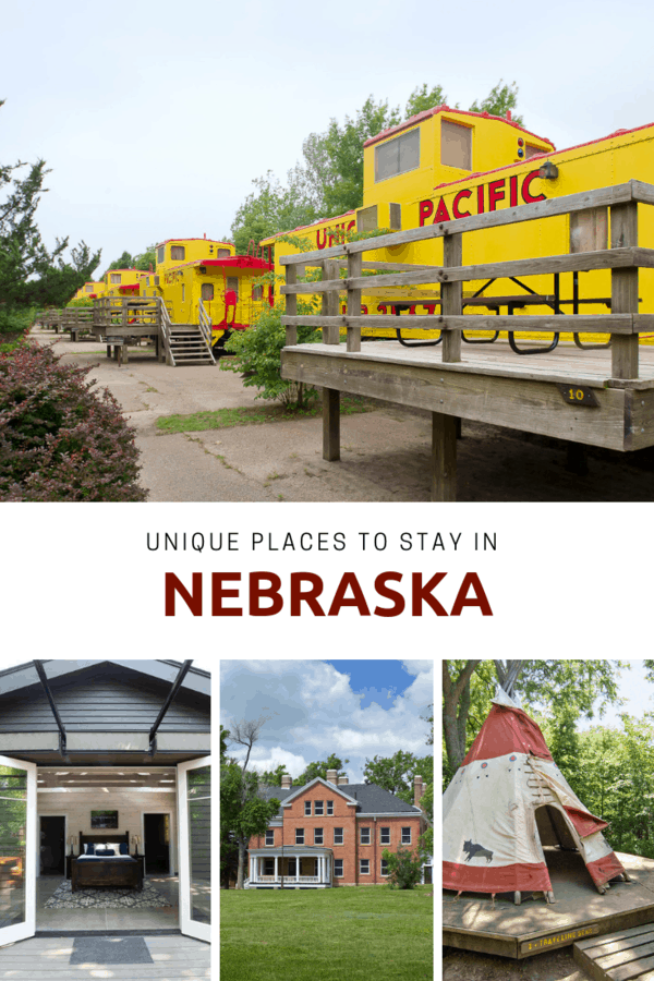 List of incredibly unique overnight experiences in Nebraska - From glamping to sleeping in a corn crib or teepee. If you're traveling through Nebraska and want to find a hotel or lodging that's truly unique, this is the list! #Nebraska #travel
