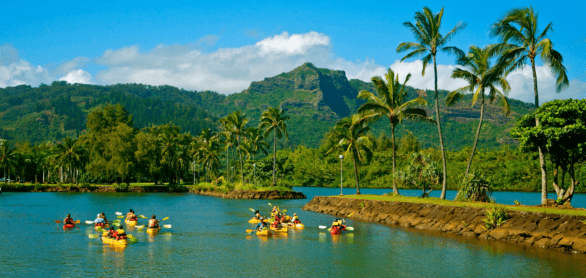 Kayaks on Wailua River in Kauai, Hawaii