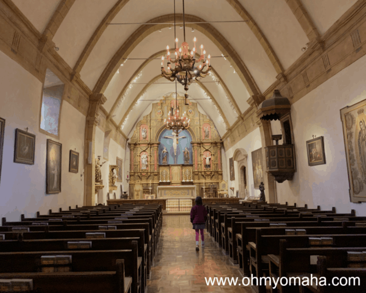 Inside the historic Basilica at San Carlos Borromeo de Carmelo Mission (commonly known as Carmel Mission) in Carmel-by-the-Sea, California. Visiting the mission may be a good rainy day activity if you're in Monterey.