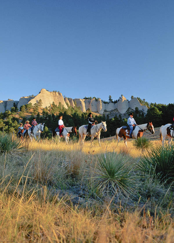 Riders on horseback at Fort Robinson State Park in Crawford, Nebraska