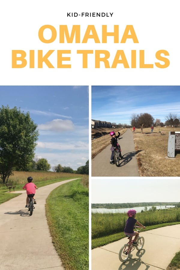 Kid-friendly bike trails in Omaha for families who like to ride together. List includes paths around lakes and parks. #bikes #Omaha #Nebraska #familytime