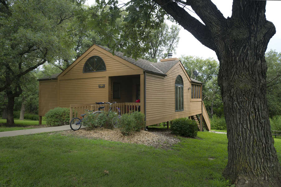 Exterior of a cabin at Mahoney State Park in Ashland, Nebraska. Cabins reservations fill quickly. They are among the most popular state cabins in Nebraska.