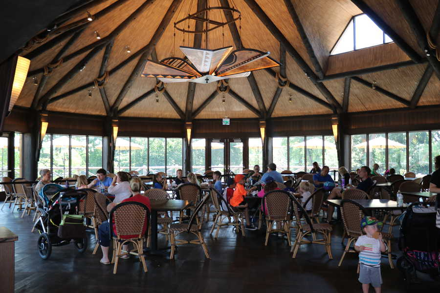 Inside the Tusker Grill dining hall at Omaha's zoo