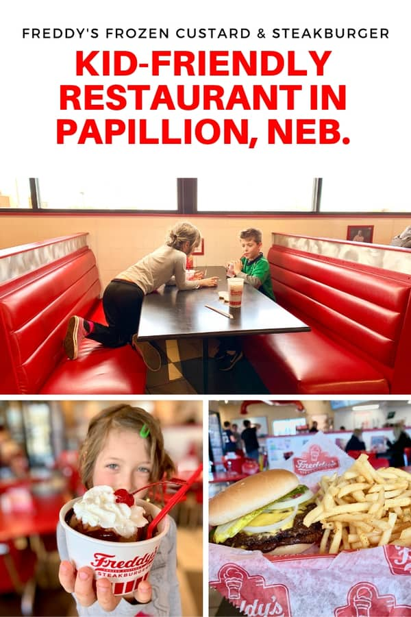 Looking for a family-friendly restaurant in Papillion, Nebraska? Here's a review of Freddy's Frozen Custard & Steakburger. Enjoy a concrete or order a famous burger. They even have a pup cup dessert for your dog! #Nebraska #restaurant