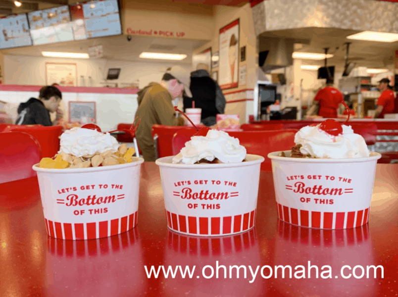 Things to eat at Freddy's - Try any of the Specialty Custards as a sundae. Options include the Hawaiian Delight, Signature Turtle and Chocolate Brownie Delight