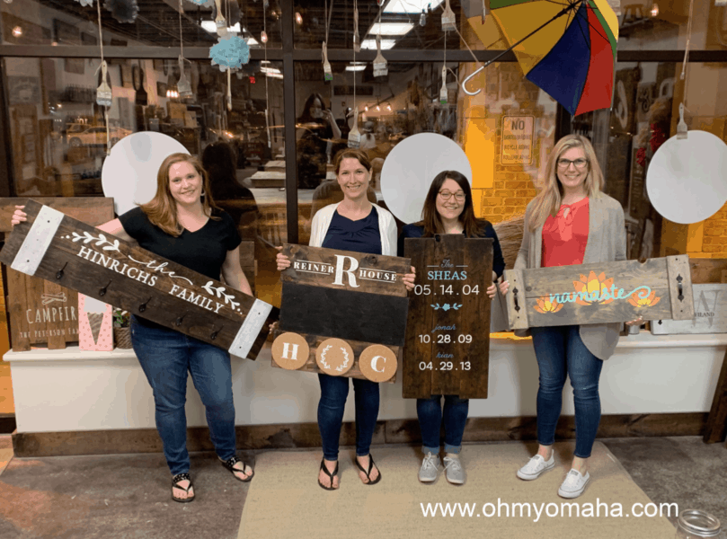 GIrl's Night Out at Board and Brush - My GNO group posing with our finished projects at the Omaha location.