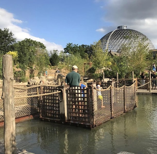 Locals' tips for visiting Omaha's zoo - Bring hand wipes, extra sunscreen and band aids because kids are going to be very active at the zoo. Here's one of the activities at the Children's Adventure Trail at the zoo.