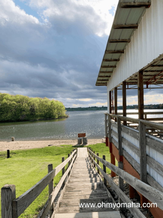 The stairs to the small, sandy beach at Lake Icaria in Iowa.