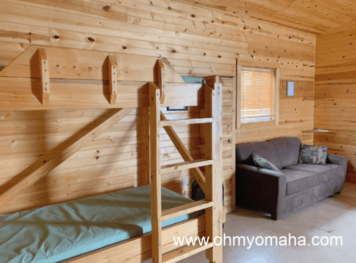 Staying at a cabin at Lake Icaria - The inside of a sleeper cabin that sleeps 6