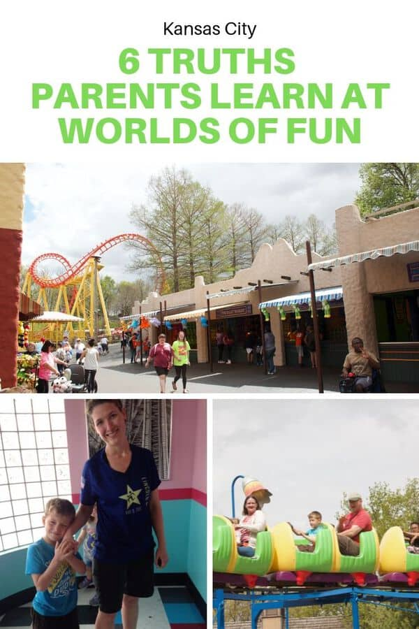 Planning a trip to Worlds of Fun in Kansas City, Missouri? Here are a few things parents learn on their first visit - Where to go with little ones, what rides you'll be expected to go on, and which rides your kids will love (and that will get you soaking wet). #guide #familytravel #USA