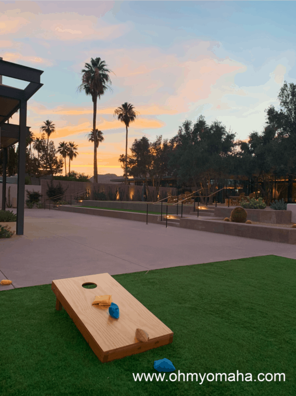 Hotel in Scottsdale - Andaz Scottsdale has lawn games throughout the property. In the background is Camelback Mountain.