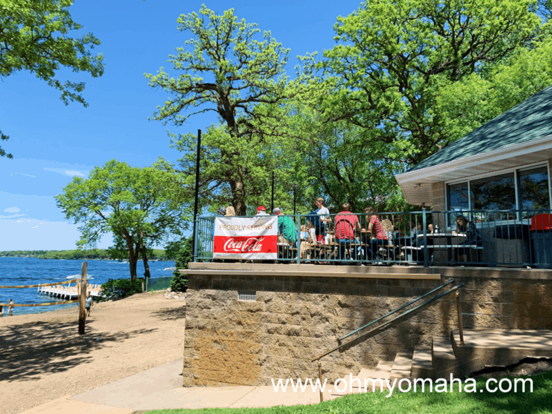 Waterfront restaurants in Okoboji - Bob's in Arnolds Park has patio seating with a view of the sandy beach and lake in northern Iowa.