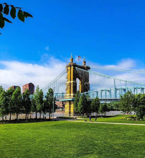 Roebling Suspension Bridge and the Ohio River - A must-see view in Cincinnati, Ohio