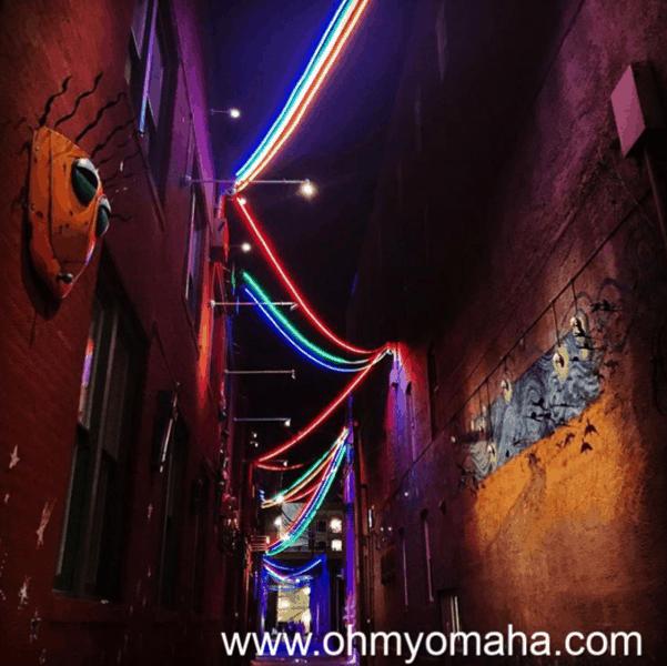 Lights strung up in Gallery Alley in Lincoln, Nebraska