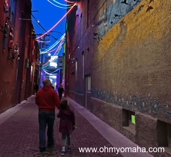 Things to do with kids in Lincoln - Take a short stroll along Gallery Alley in the Haymarket in at night.