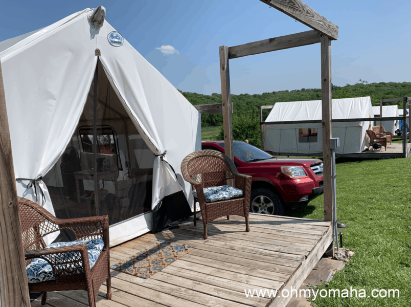 Fun places to stay in Nebraska - Try glamping. Slattery Vintage Estates & Tasting Room in Nehawka has glamping tents.