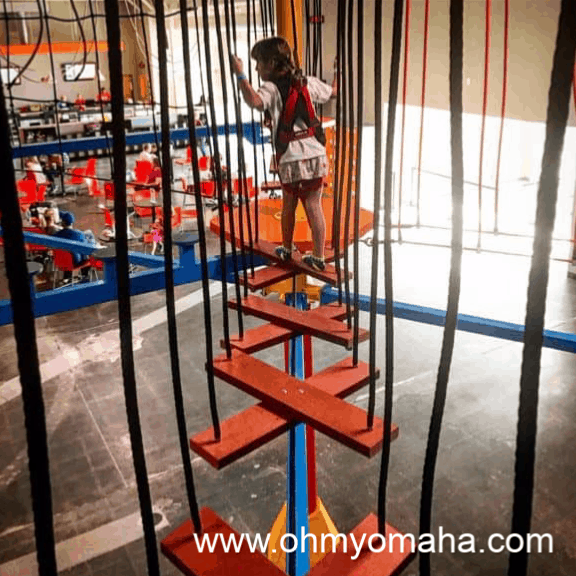 Things to do with kids in Omaha - Try the indoor ropes course at Urban Air Trampoline Park
