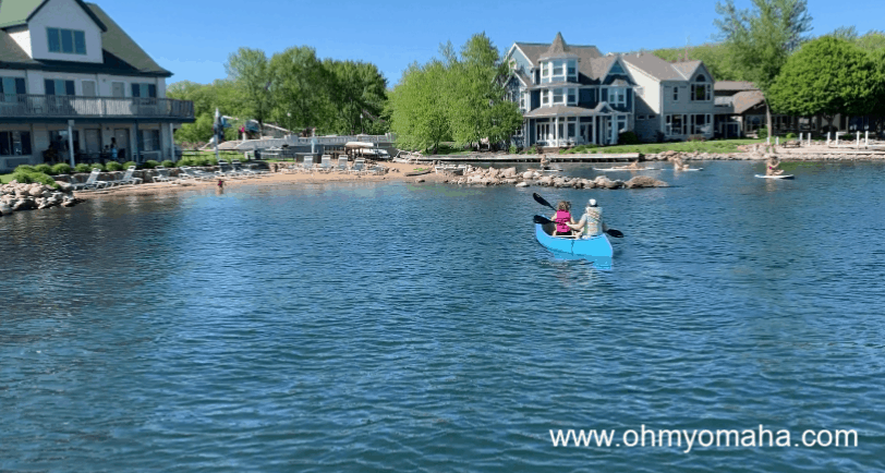 Okoboji in the summer means a lot of time on the water - One popular activity for families is canoeing