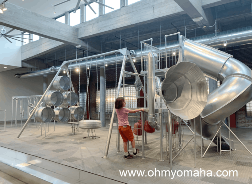 One of the museums and galleries found in downtown Omaha is KANEKO, where the exhibit space features mostly temporary exhibitions like this sound playground.