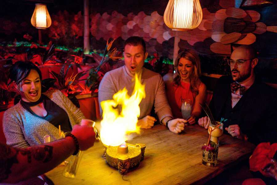 A unique spot in Omaha, Laka Lono Rum Club is a tiki bar that has both the quirky atmosphere and the quirky menu items.