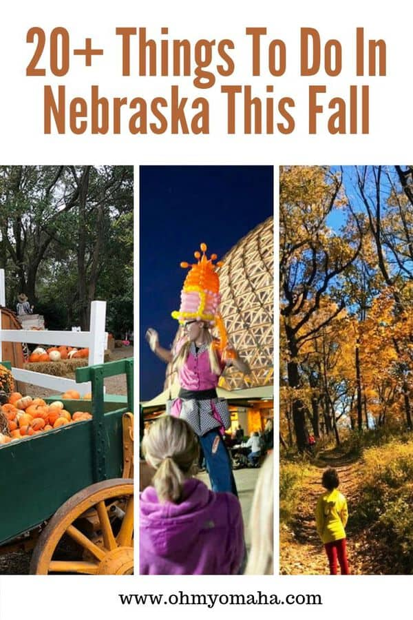 There are a lot of fall activities in Nebraska from apple picking and pumpkin patches, to Halloween events and football games. Here's a list of 20+ fun things to do in Nebraska this fall! #Nebraska #guide #fall #Halloween