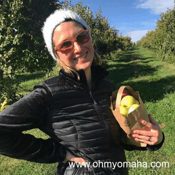 Apple picking at Ditmars Orchard in Council Bluffs, Iowa.