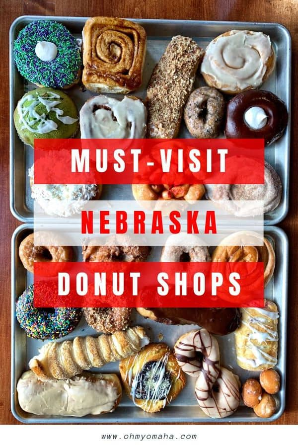 14 must-visit donut shops in Nebraska - Tour the state by visiting bakeries and trying what they're famous for! Donut shops are all locally-owned and found in large and small towns. If you want a sweet breakfast, check out these places to get Nebraska donuts. #Nebraska #Doughnut #Guide