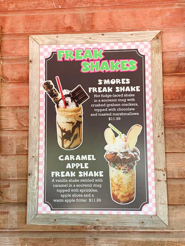 A sign at Vala's Pumpkin Patch for two of their Freak Shake flavors.