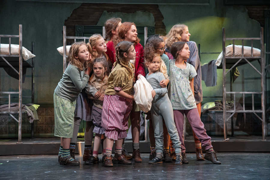 "The orphans in the Omaha Community Playhouse production of ""Annie."""