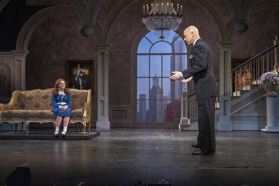 "Stella Clark-Kaczmarek as Annie and Jay Srygley as Daddy Warbucks in ""Annie,"" on stage at Omaha Community Playhouse from Sept. 13 to Oct. 13, 2019."
