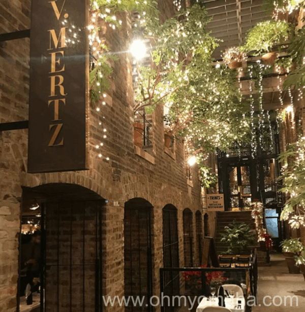 The exterior of V. Mertz in the Old Market of Omaha.