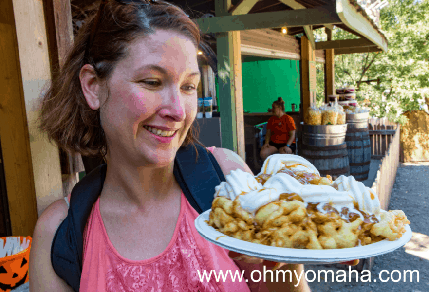 New must-try food at Vala's Pumpkin Patch - apple funnel cake sundae.