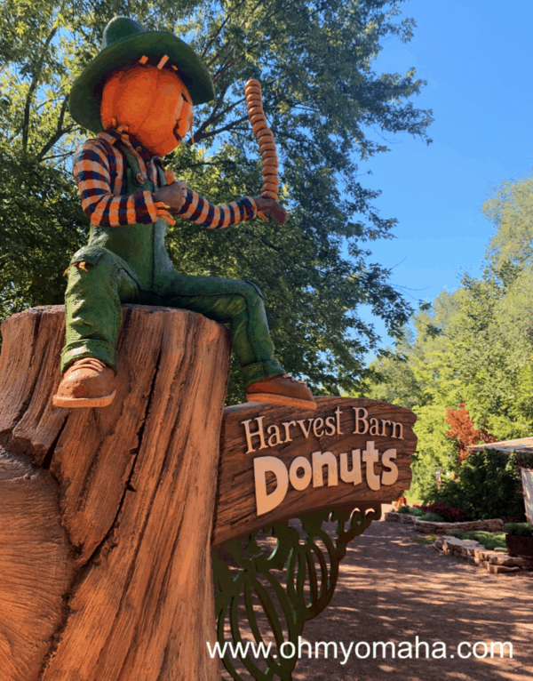 The sign for the Harvest Barn Donuts at Vala's Pumpkin Patch in Nebraska.