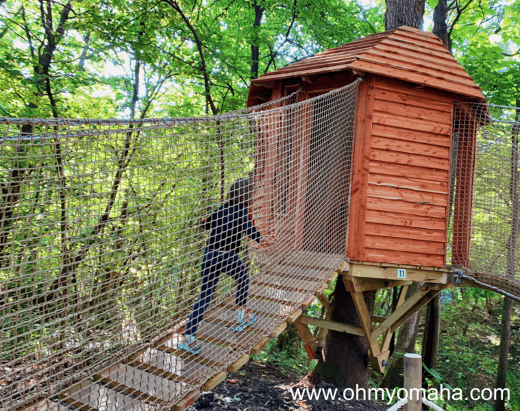One of the treehouses at Treetop Village at the Arbor Day Farm Tree Adventure in Nebraska City.