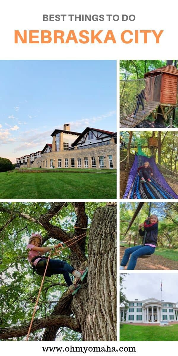 Headed to Nebraska City in eastern Nebraska? Here's a guide to fun things to do, including visiting Arbor Day Farm Tree Adventure, Arbor Lodge State Historical Park, and recommended restaurants. If you're looking for all-things-apples, from. orchards to apple pie, this post includes where to go in Nebraska City for all of it! #Sponsored #Guide #Outdoors #Nebraska #ArborDayFarm #USA
