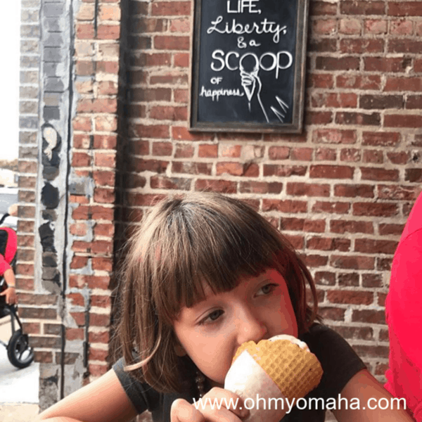 My daughter enjoying a cone from Coneflower Creamery in the Blackstone District.
