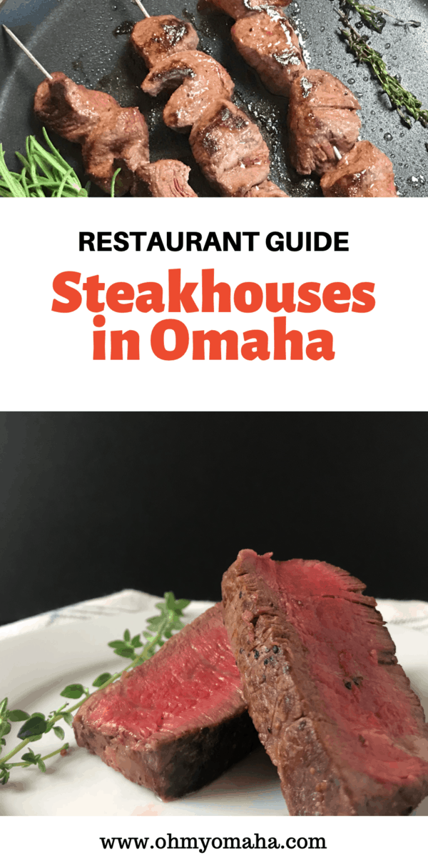 You can't visit Omaha without trying a steak! Here's a list of recommendations for best steakhouses, made by locals! If you're craving a hamburger (or veggie burger), there are tips on where to go for those, too. #Omaha #Omaharestaurants  #eatlocal #steakhouses