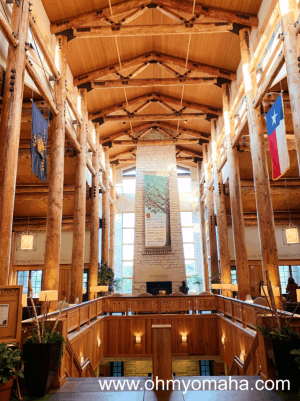The impressive lobby of the Lied Lodge, my top recommended hotel in Nebraska City