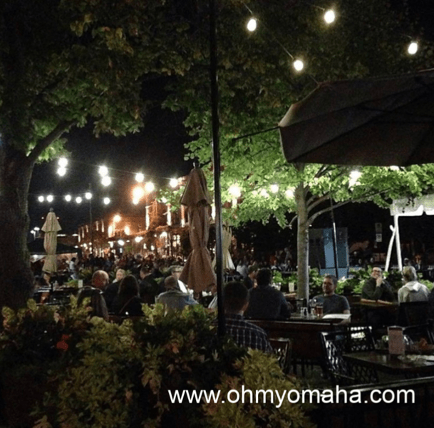 Nighttime in the Old Market in downtown Omaha