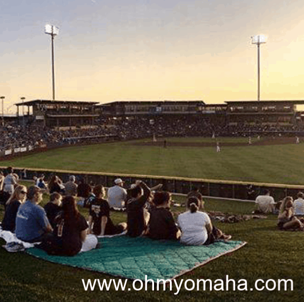 Berm seating at Werner Park during an Omaha Storm Chasers game.