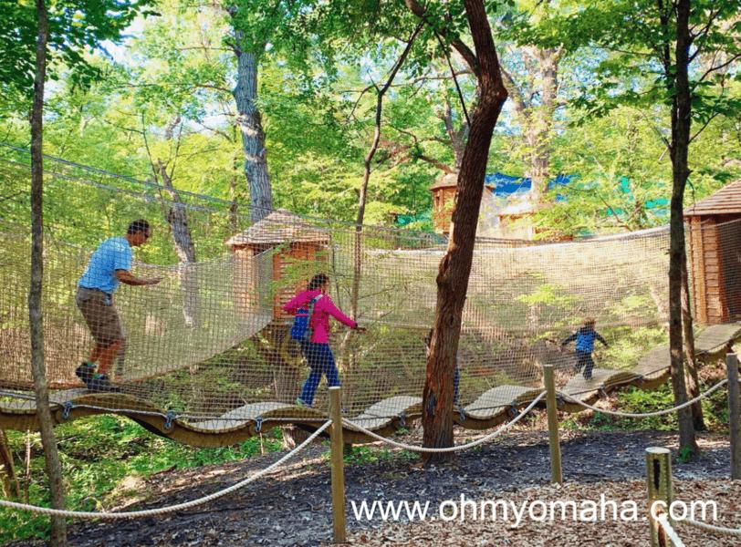 The Treetop Village at Arbor Day Farm Tree Adventure.
