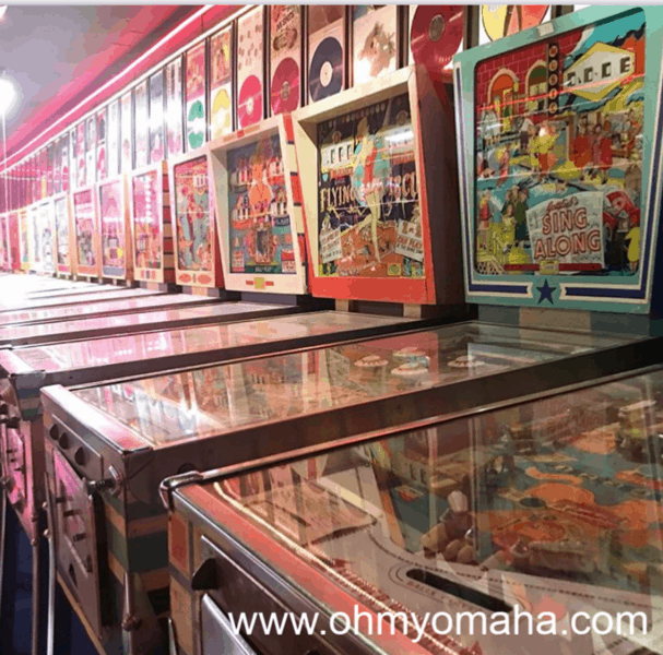 Antique pinball machines at Hollywood Pinball & Arcade Museum in Omaha, Nebraska