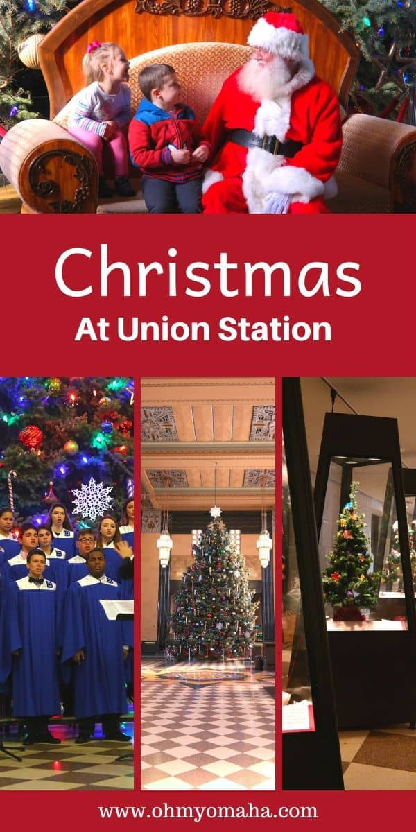 Everything you need to know about the Omaha tradition: Christmas at Union Station, held annually at The Durham Museum in downtown Omaha. This historic Nebraska museum has events for the entire family, including Santa visits, live music, and the Cultural Holiday Festival. #Omaha #Nebraska #Museum #Christmas #Holidays #Midwest