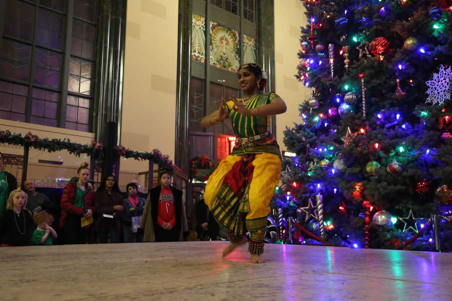 A dancer at the Holiday Cultural Festival held each year during Christmas at Union Station in Omaha.