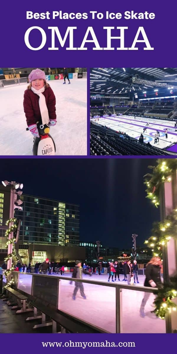 Ice skating in Omaha is a popular winter activity for families! Here's where you can find the indoor and outdoor ice skating rinks in Omaha (and nearby) | Things to do in the winter in Omaha | Omaha winter | Nebraska winter | Omaha winter fun #Omaha #Winter #Nebraska #USA #iceskate