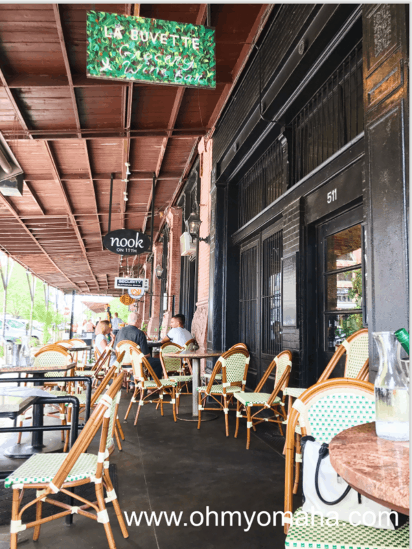 Outside seating at La Buvette, a French restaurant in the Old Market