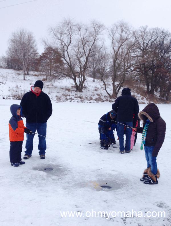 Ice fishing at Mahoney State Park