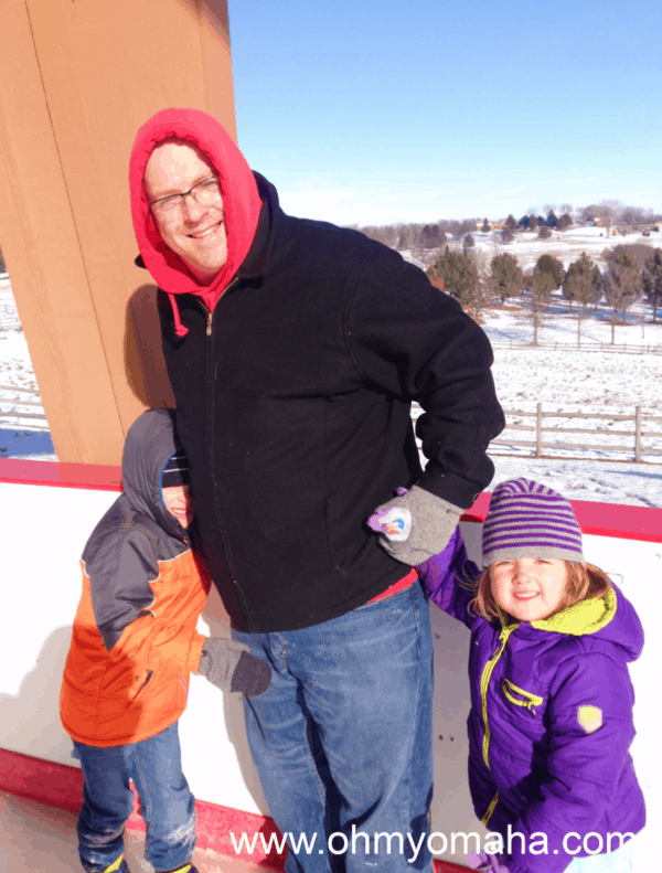 Outdoor ice skating at Mahoney State Park, near Omaha in eastern Nebraska