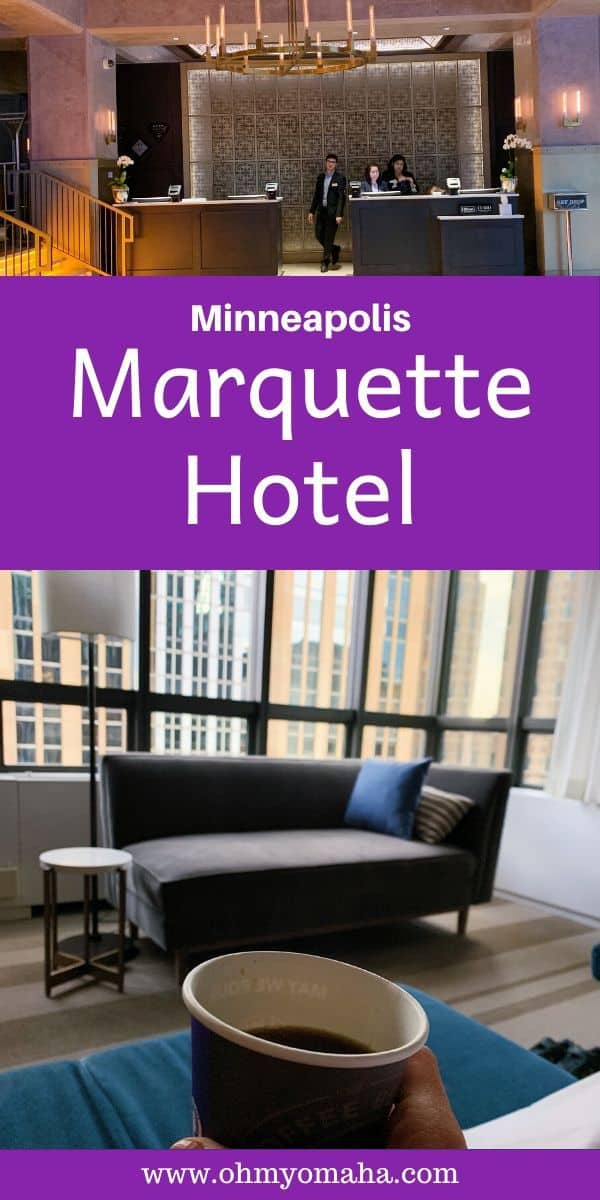 Looking for a hotel in downtown Minneapolis? Here's what to expect if you stay at Marquette Hotel, a Hilton Curio hotel located in an historic building. It's near a ton of restaurants, shops and things to do! #Minneapolis #Minnesota #Hotel