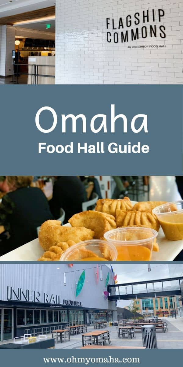 If you love food, head to an Omaha food hall! Here's a guide to Flagship Commons and Inner Rail Food Hall, including which restaurants are there, what to order, and where to take the kids. #Omaha #Nebraska #restaurants #foodhall #foodie #guide